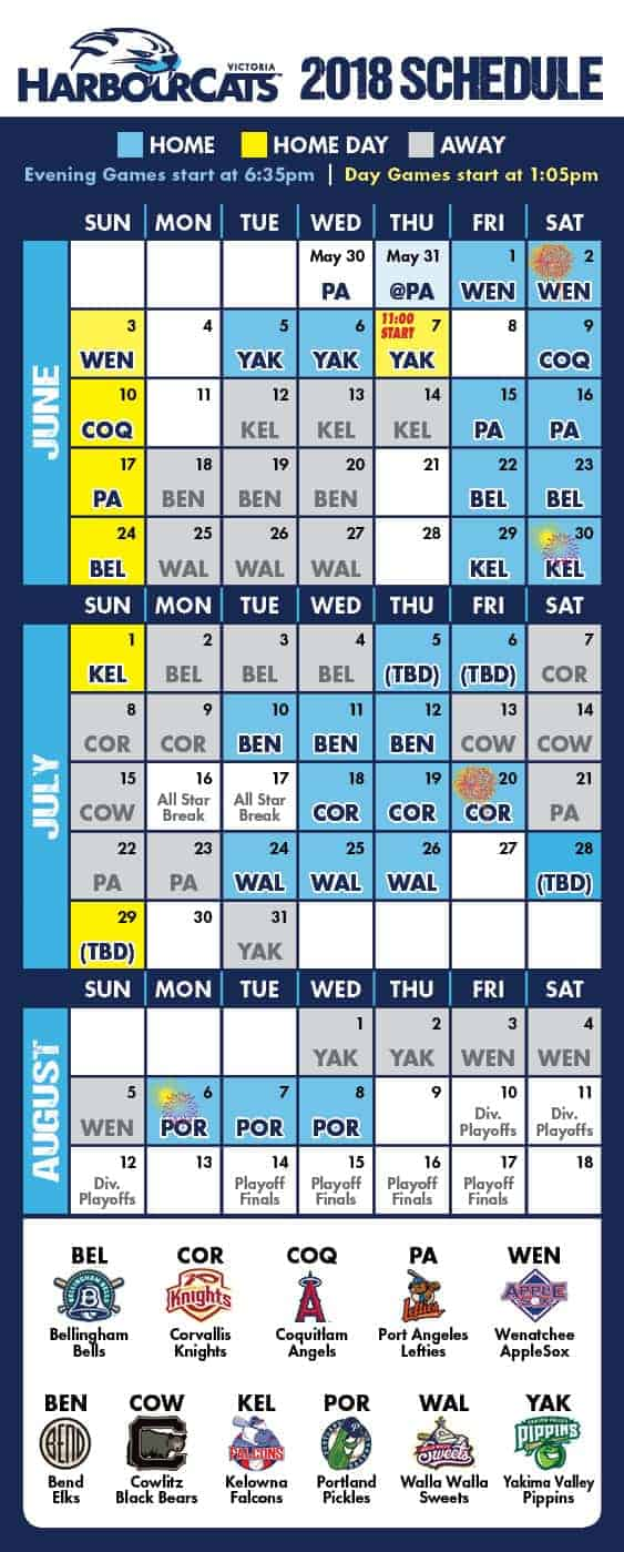 Our 2018 Schedule - Click for full Calendar View