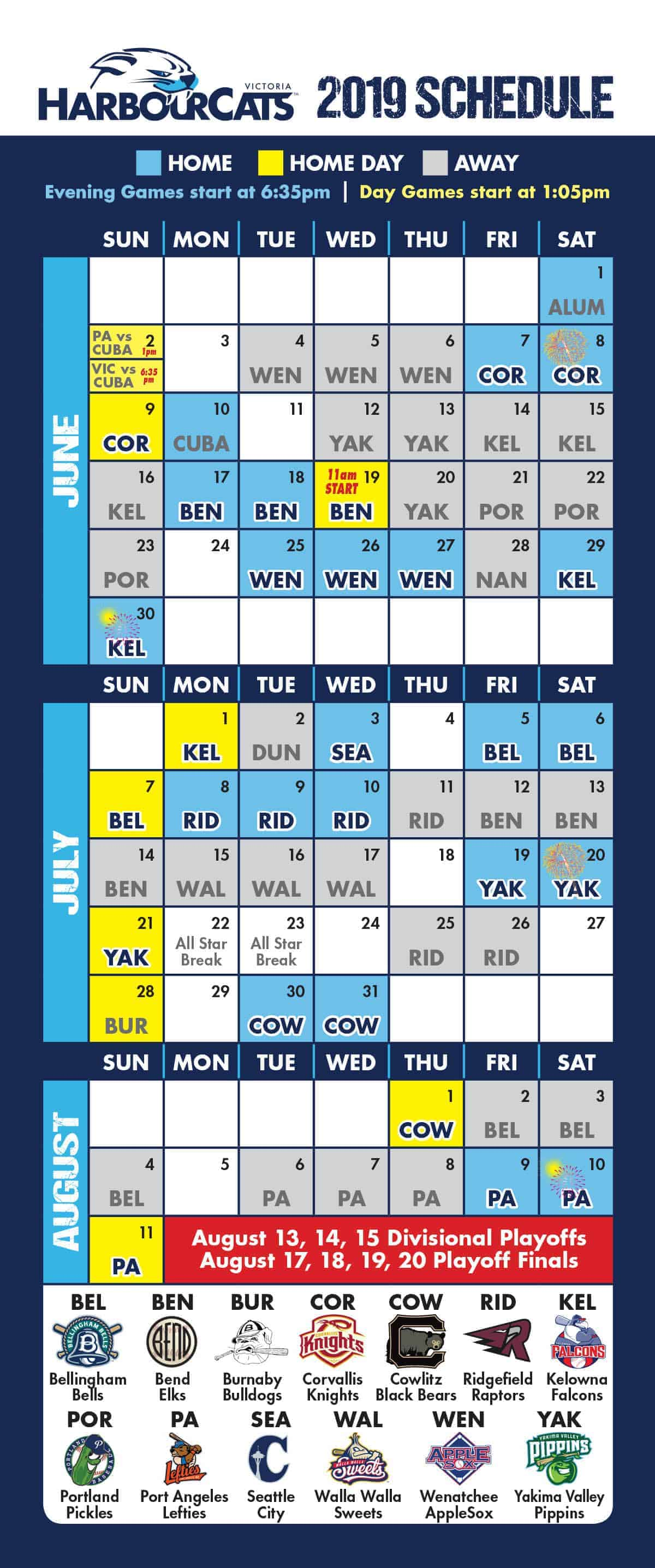 2018 Schedule - Full Calendar View